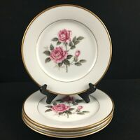 Set of 4 VTG Salad Plates Noritake Lindrose Pink Rose Floral 5234 Gold Japan
