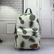 Women Pineapple Print Canvas Backpack School Shoulder Book Bag Travel Satchel