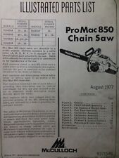 Mcculloch Chain Saw Pro Mac 850 Parts Manual 2 Cycle Gasoline Chainsaw 1977