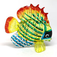 Blown Glass Yellow Fish Figurine Coastal Tropical Style Handicraft Miniature