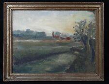 Paysage post impressionniste circa 1900 huile / carton fort inscriptions au dos