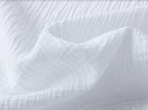 WHITE DOUBLE Gauze Cotton Muslin Fabric Soft Summer Baby Cloth - 140cm Wide