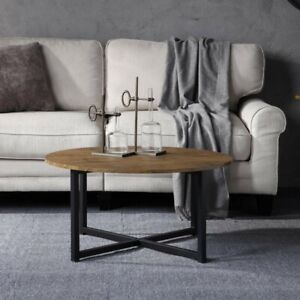 Coffee Table Wood With Metal Legs Modern Round Living & Bedroom Furniture