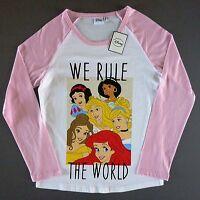 Disney Princess Damen Langarm T-Shirt Arielle Belle Aurora Cinderella S Primark