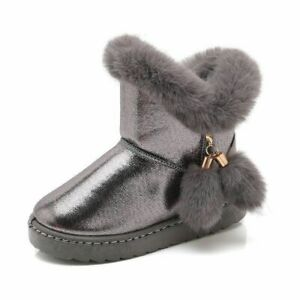 Winter Kids Warm Plus Plush Cotton Shoes Childrens Girls Round Toe Ankle Booties