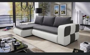 corner sofa bed storage left right grey fabric white faux leather spring.