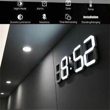 USB Modern Large 3D Digital LED Wall Alarm Wall Clock Snooze 12/24 Hour Display