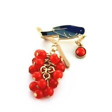 CG0073... ENAMELLED & BEADED BIRD BROOCH - GOLD PLATED - FREE UK P&P
