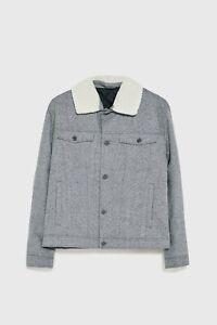 Zara AW 2019/20 Grey Wool Contrast Textured Jacket Coat Free P&P NEW
