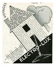"""Publicité Ancienne """" Aspirateurs Electro-Lux  """" R.L. Dupuy   1930 """""""