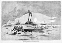 BOATS, SHIPS NAVIGATING ICE ON THE DELAWARE, 1887 ANTIQUE ENGRAVING, BOATS SHIPS