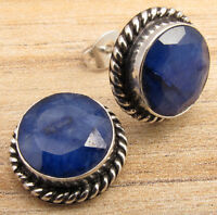 Simulated SAPPHIRE MEN S WOMEN S JEWELRY STUD EARRINGS BLUE ! 925 Silver Plated