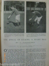 RUGBY UNION FOOTBALL comment Kick Ball ancienne antique article 1904 Alexander Angleterre