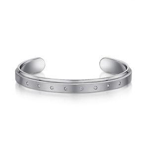 Men's Titanium Silver Bangle Bracelet with 8 5p Stones Titanium Matt & Polished