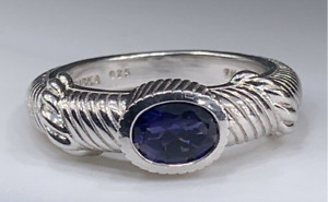 Judith Ripka Sterling Silver Blue/Purple Lolite Sapphire Ring Rope Design Size 6
