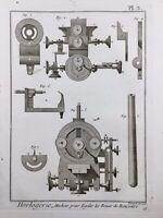 Horlogerie 1765 Horloger Montre Pendule Rare Gravure Encyclopédie Diderot