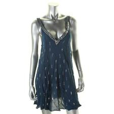 Free People 3139 Womens Blue Crinkled Sequined Mini Slip Dress L BHFO