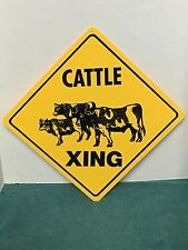 """12"""" x 12"""" Cattle Xing Crossing Sign Cows Beef Angus plastic Sign"""