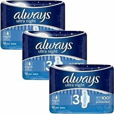 Always Ultra Night Sanitary Towels Pads Wings Womens Super Absorbent Pack of 30