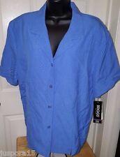 Briggs New York NWT Womens Plus Ocean Blue Button Down Shirt Top Size 22W