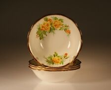 "Royal Albert ""Tea Rose"" Yellow Set of 4 Oatmeal/Cereal Bowls, Made In England"