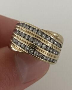 9ct Gold 1ct Diamond Three Row Large Heavy Cluster Ring