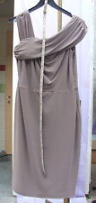 Joseph Ribkoff BNWT 14 Magnificent Taupe Asymmetric Shoulder Dress & Belt US 12