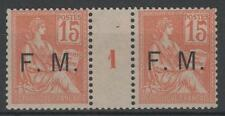 "FRANCE FRANCHISE MILITAIRE 1 "" MOUCHON 15c ORANGE PAIRE MILL1 "" NEUF xx TTB K902"