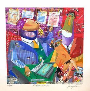 """PINO PROCOPIO 33x33 serigrafia su carta """" Il commercialista """" dottore ragioniere"""