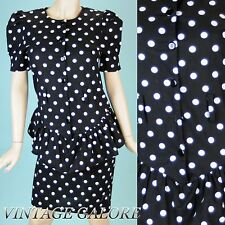 VTG Black white Polka Dot Peplum Cocktail Puff Sleeves Pencil party Dress Sz S M