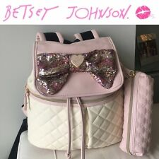 NWT Betsey Johnson 'Oh Bow' Blush Pink Sequin Backpack + Pouch - SOLD OUT !!