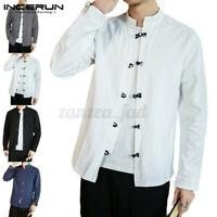 Mens 100%Cotton Tops Casual Retro Chinese Long Sleeve Kung Fu Shirt Blouse Tops