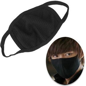 50 x Anti Dust Pollution Black Cotton Face Mask Washable Reusable Triple Layer