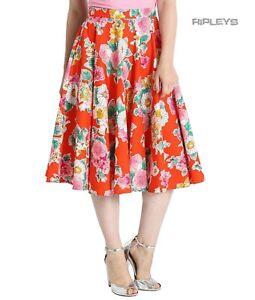Hell Bunny 50s Skirt Vintage Rockabilly MARGUERITA Orange Floral All Sizes