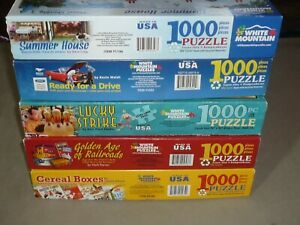 LOT OF 5 WHITE MOUNTAIN 1000 pc puzzles SUMMER HOUSE / READY FOR A DRIVE & MORE