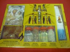 SET OF BLESSED HOLY WATER,SOIL,OIL,INSENCE HOLY CANDLE VIRGIN MARY ICON & CROSS