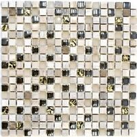 Glas-/Natursteinmosaik mix hellgrau/gold Fliesenspiegel Art:92-HQ12 | 10 Matten