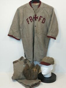 Antique Vtg Wright & Ditson Baseball Uniform Jersey Knickers Hat & Glove 1900s