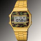 Casio A-168WEGC-3 Men's Gold Stainless Steel Camouflage Watch Digital Alarm