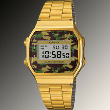 Casio A-168WEGC-3 Men's Gold Stainless Steel Camouflage Watch Digital Alarm