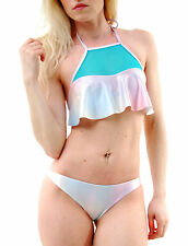 Wildfox Women's Fairy Halogram Mermaid Bikini Top Multi Blue RRP £61 BCF65
