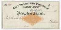 1870s RN-G1 unused check West Philadelphia Passenger Railway Company [y2879]