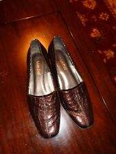 Van Dal Size 7 D Dark Brown Leather Low Wedge Shoes Lightly Worn vgc