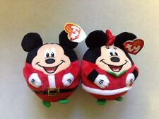 New Set Of Mickey Mouse & Minnie Mouse Christmas Ty Beanie Ballz