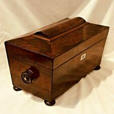 Tea Caddy English Regency Rosewood Double Box with Glass Mixing Bowl