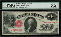 "1917 $1 Legal Tender FR-36* - ""Sawhorse"" ""STAR NOTE"" - Graded PMG 35"