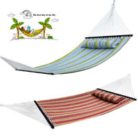 Quilted Fabric Double Hammock Heavy Duty With Pillow Spreader Bar 2 Person Swing