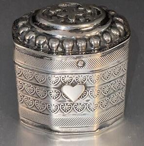 Antique Hallmarked Dutch Silver Octagon Box 1878 C.H. Cammans, Groningen #11298