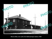 OLD LARGE HISTORIC PHOTO OF WARREN OHIO, THE ERIE RAILROAD DEPOT c1960