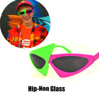 HipHop Green Pink Contrast Roy Purdy Asymmetric Triangular Hip-Pop Sunglasses